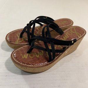 Sam Edelman Black Strap Wedges Shoes 9